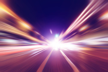 Abstract image of night traffic in the city.