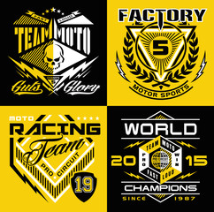 Motocross sport shield emblem set
