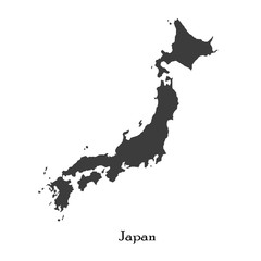 Black map of Japan for your design