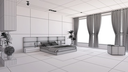 Interior render of a bedroom with some furinitures