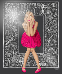 Blonde In Pink Dress Against Love Background
