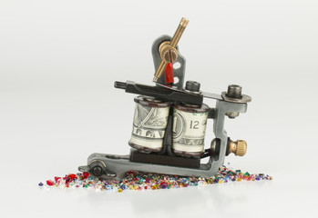 Tattoo machine   gun - Stock Image macro.