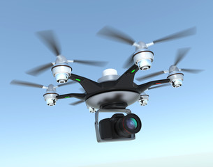 Air drone carrying Digital single-lens reflex camera