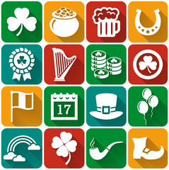 St. Patrick's Day flat icons Vector set.