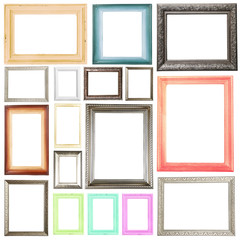 Collection of frames isolated on white