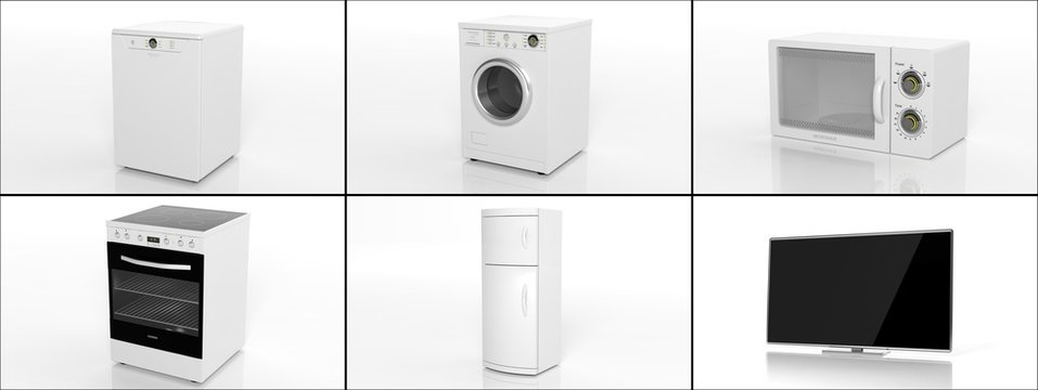 Collection of home appliances isolated on white background