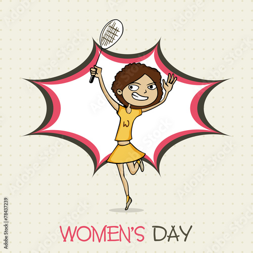 Funny Girl Cartoon Playing Badminton For Happy Womens Day Stock