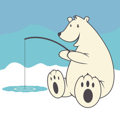Polar bear, ice fishing, vector illustration