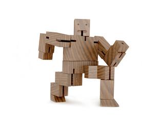 Wooden toy robot runs