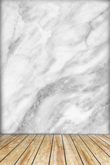 Backdrop marble wall and wood slabs arranged in perspective