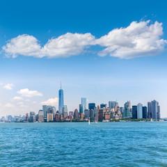 Manhattan New York skyline from NY bay in US