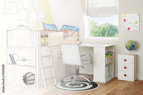 Kinderzimmer Mit Bett Und Schreibtisch Als Skizze Stockfotos Und