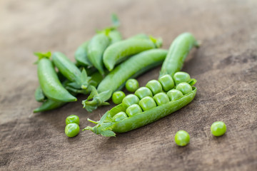 Fresh Homemade Peas On The Wooden Background