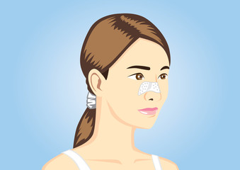 Acne pads on women nose cartoon version