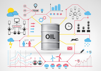 oil barrel goods with blue red infographic icons