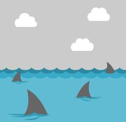 group of shark at sea
