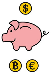 a piggy bank in 3 currencies