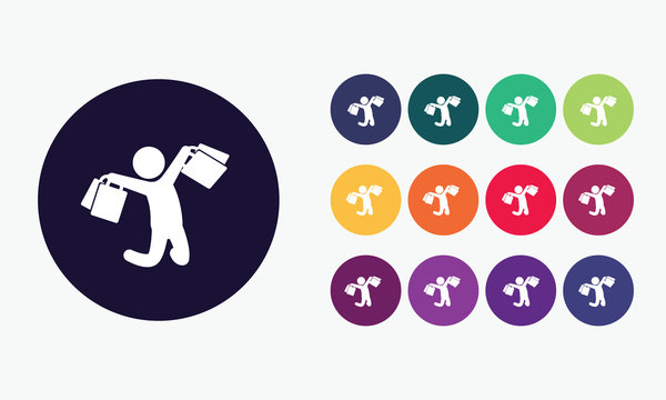 13 button circles set with shopper icon in various colors. Vector illustration.