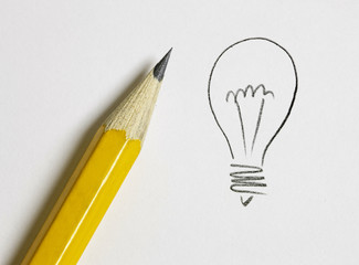 hand drawn light bulb and pen