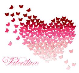Ombre heart made of butterflies