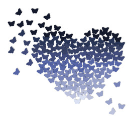 Ombre heart made of butterflies