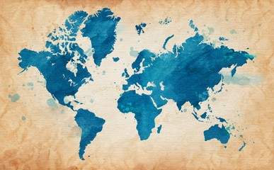 map of the world with a textured background and watercolor spots