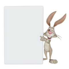Easter bunny, rabbit with a blank frame