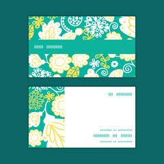 Vector emerald flowerals horizontal stripe frame pattern