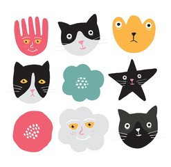 Cute kittens and flowers set.