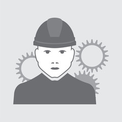 vector illustration of mechanic with gears behind