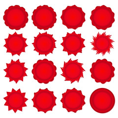 Big set of red promotional stickers. Vector illustration.