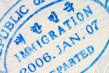 Korean passport immigration stamp