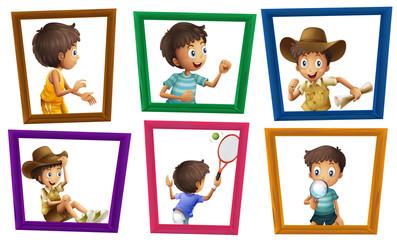 Boys and photo frames