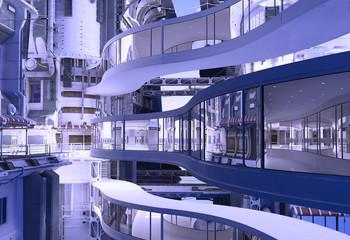 Glass corridors.