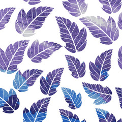 Watercolor seamless pattern on leaves theme. Autumn seamless