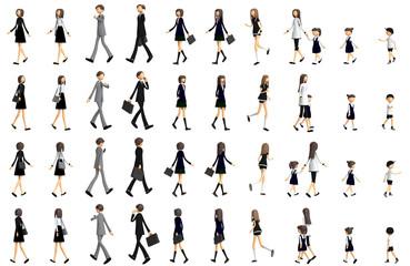 歩いている人々のバリエーションの3D-CG