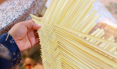 Basket weave bamboo Rica.