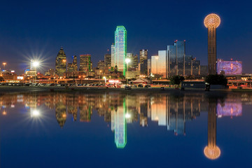 Fototapete - Dallas City skyline at twilight