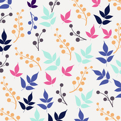 Colored seamless pattern on leaves theme. Autumn seamless