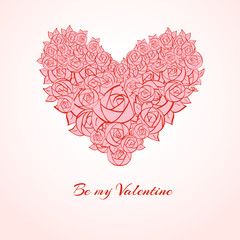 Valentines day card on pink background