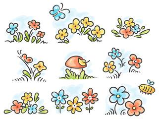 Cartoon floral design elements