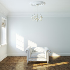 Vintage white armchair in empty interior design with chandelier