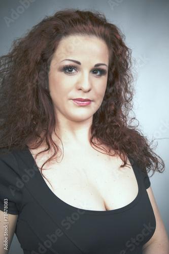 Nice Redhead Busty Lady In Black Apparel