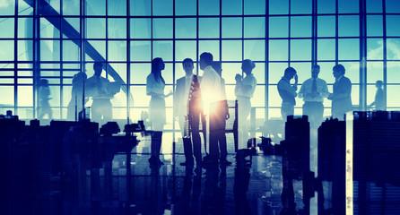 Business Communication Discussion Cityscape Corporate Concept