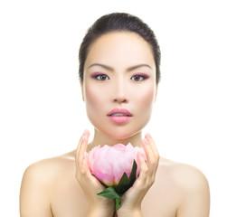 Asian woman beauty portrait with lotus flower