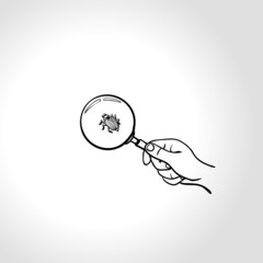 Hand with magnifying glass is searching for computer bug