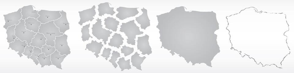 Fototapeta polska, mapa, kontur, województwa obraz