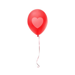 Red balloon with heart print, isolated on white background