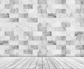 Backdrop stone wall (marble) and wood slabs in perspective.