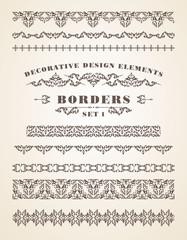 Vector Ornaments Borders. Decorative Design Elements.